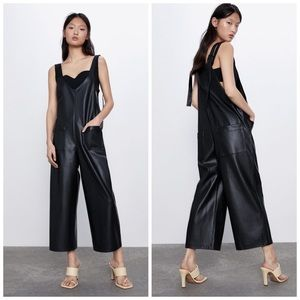 Zara Faux Leather The Jackie Jumpsuit Overalls